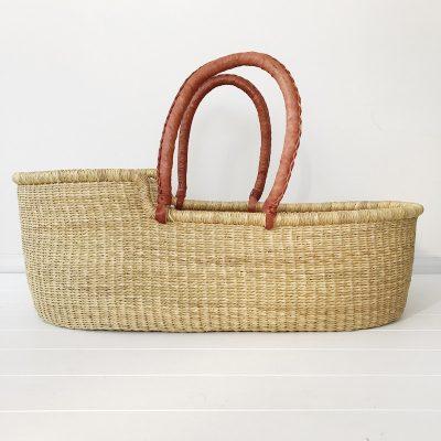 Natural Moses Basket Tan Handles Collective Sol