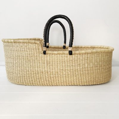 Natural Moses Basket Black Handles Collective Sol