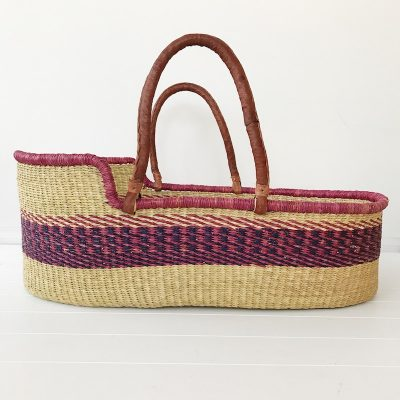 Berry Moses Basket Tan Handles Collective Sol