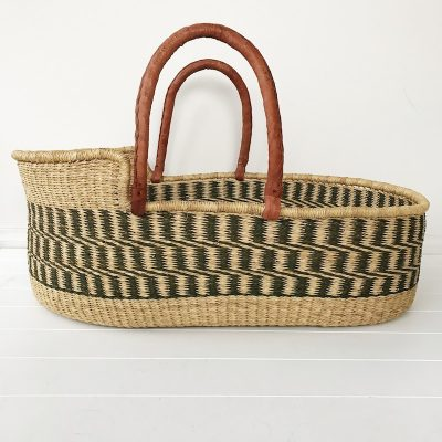 Sage Moses Basket Tan Handles Collective Sol