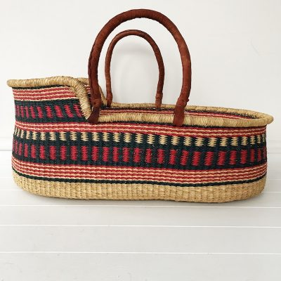 Indigo Moses Basket Tan Handles Collective Sol