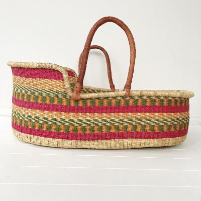 Sherbet Moses Basket Tan Handles Collective Sol