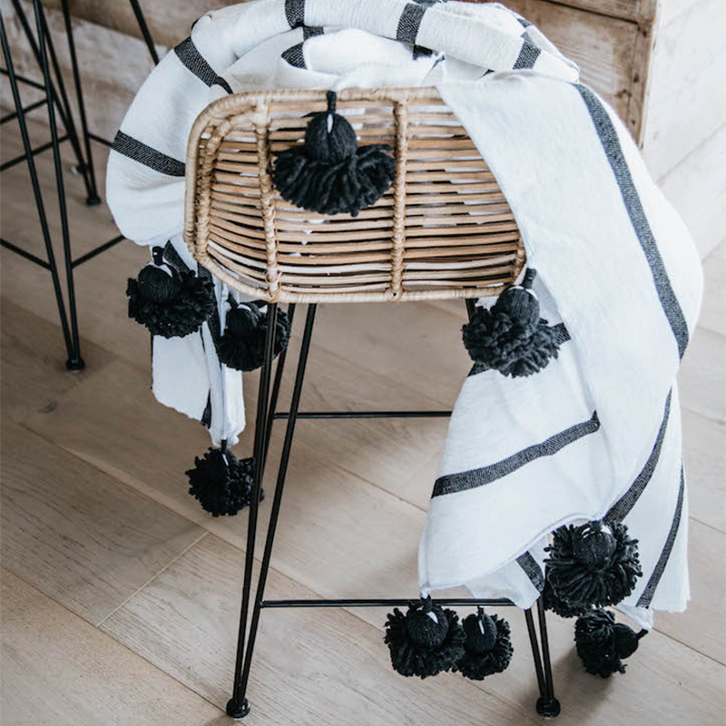 Harper Black White Throw Blanket Collective Sol