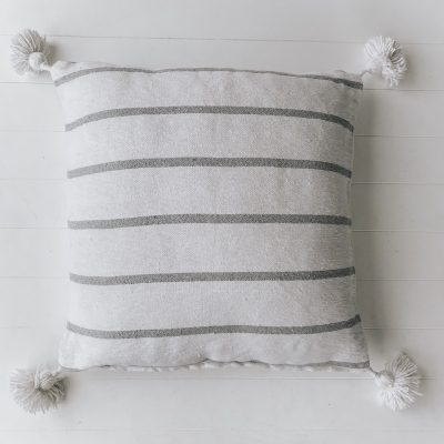 Harper White Grey Stripe Moroccan Cushion