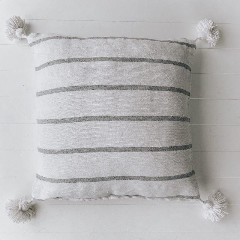 Harper White Grey Stripe Moroccan Cushion