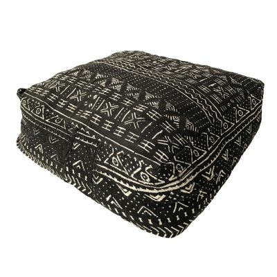 Collective Sol Marley Mudcloth Black Ottoman