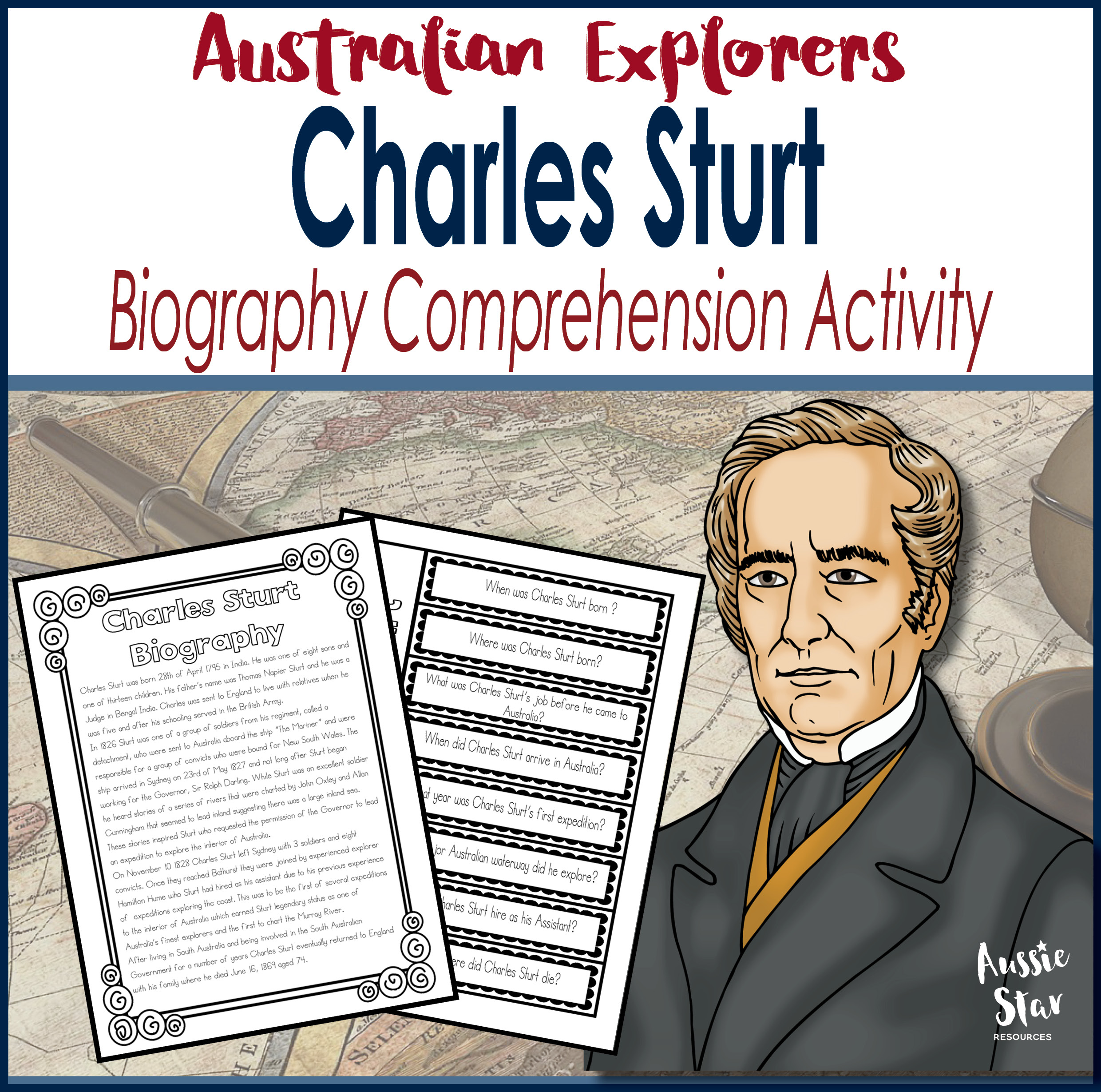 Charles Sturt Biography Comprehension Activity