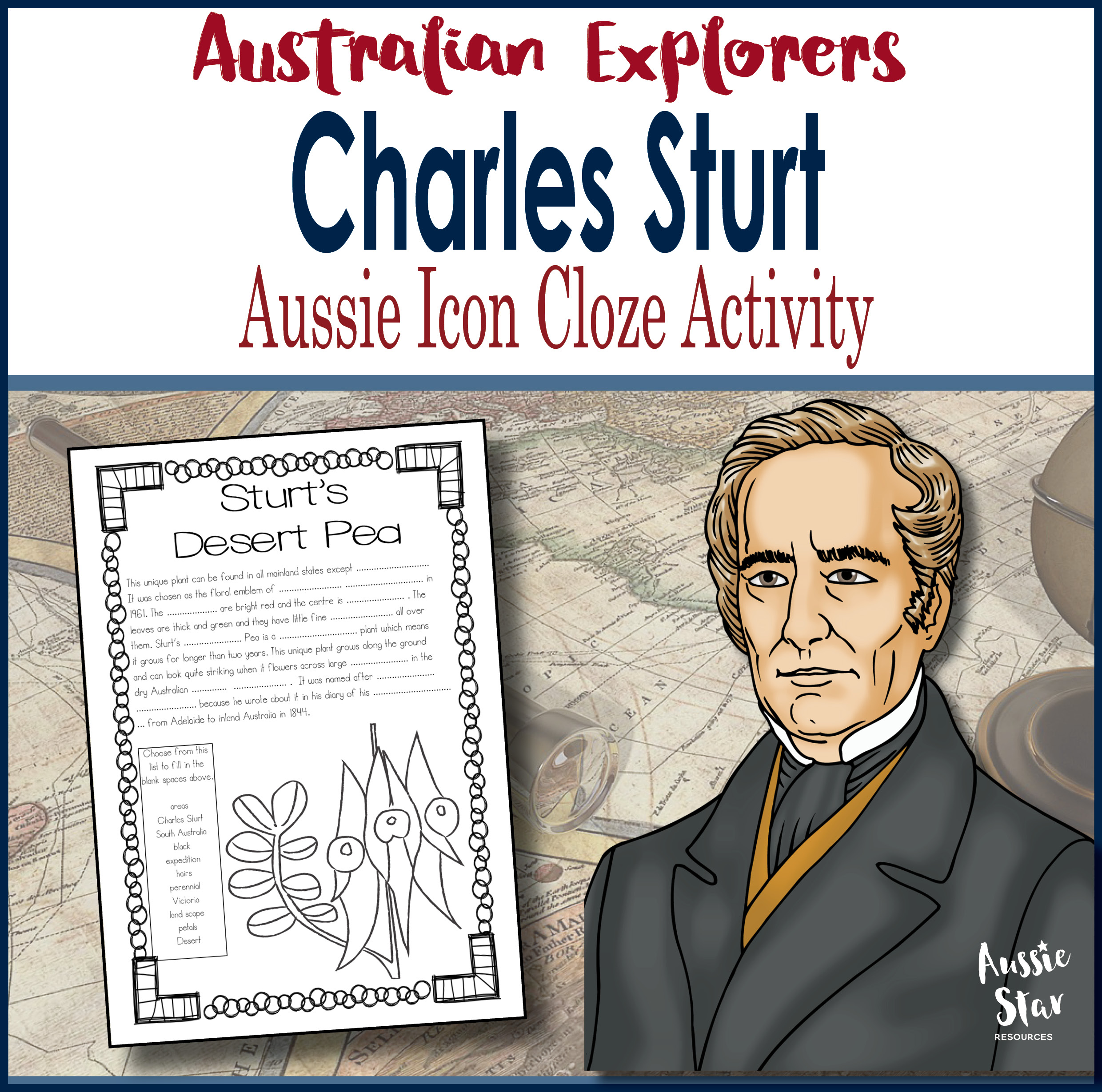 Charles Sturt Australian Icon Cloze Activity