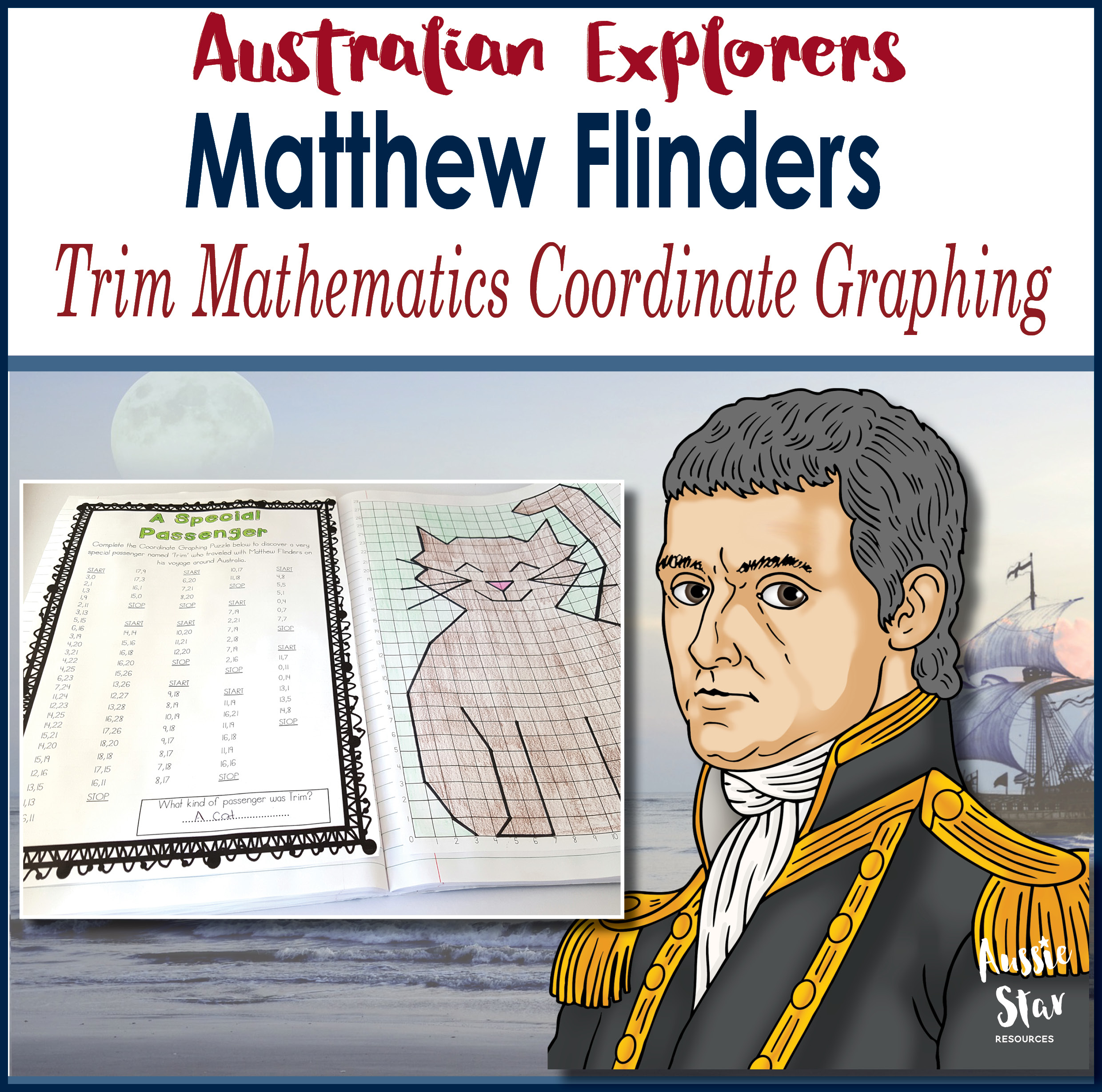 Matthew Flinders Trim Maths Grid Coordinates Activity