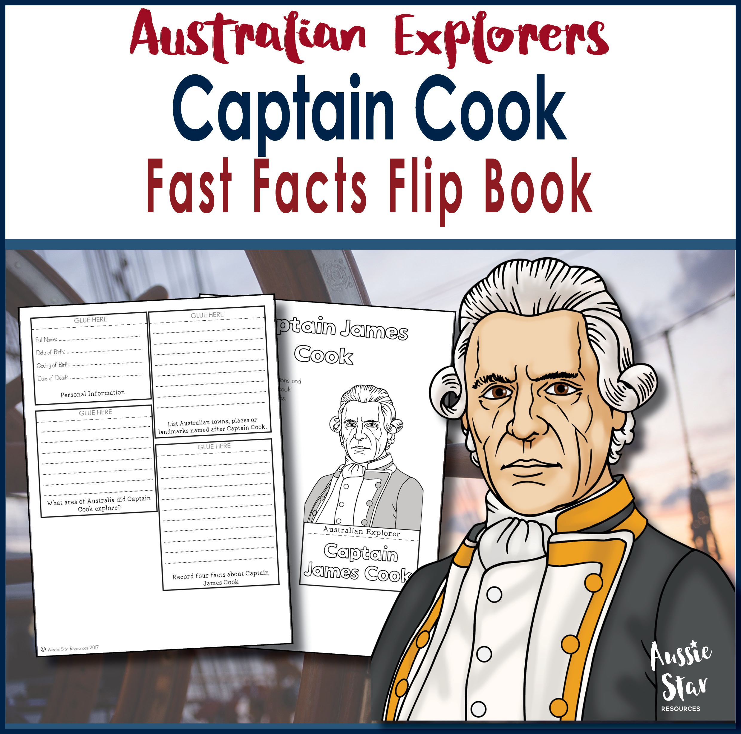 Captain Cook fast facts flip book