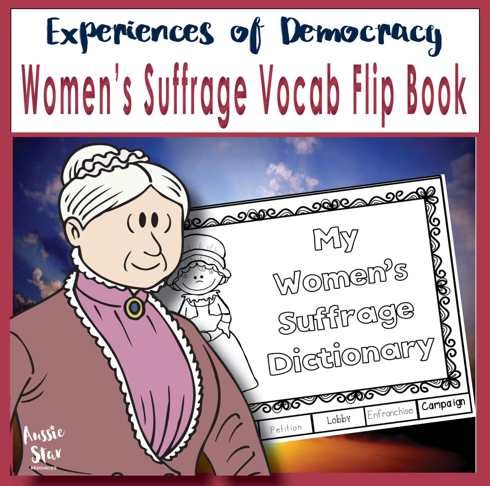 women's suffrage vocabulary flip book