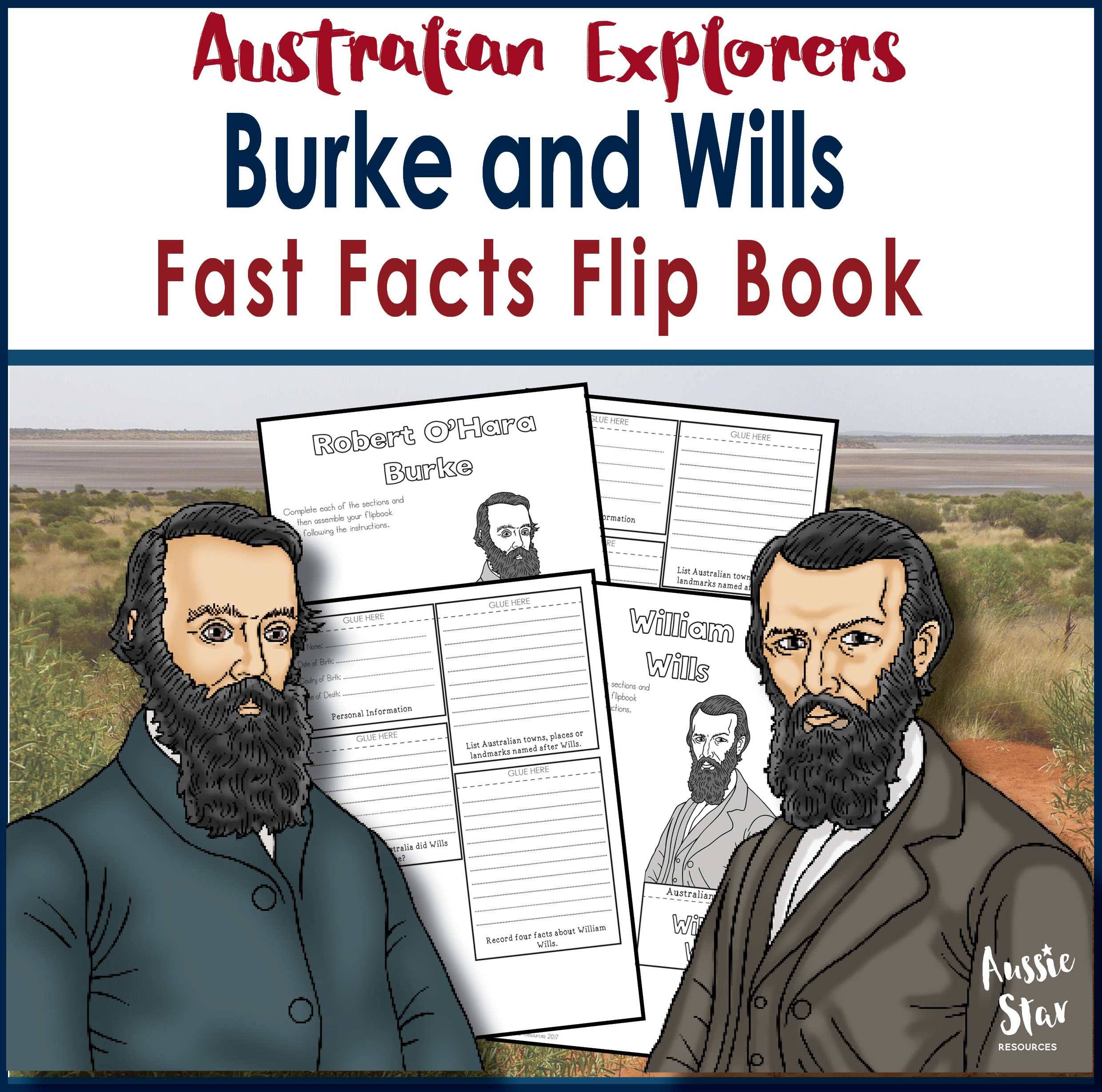 Australian explorers Burke and Wills flip book cover