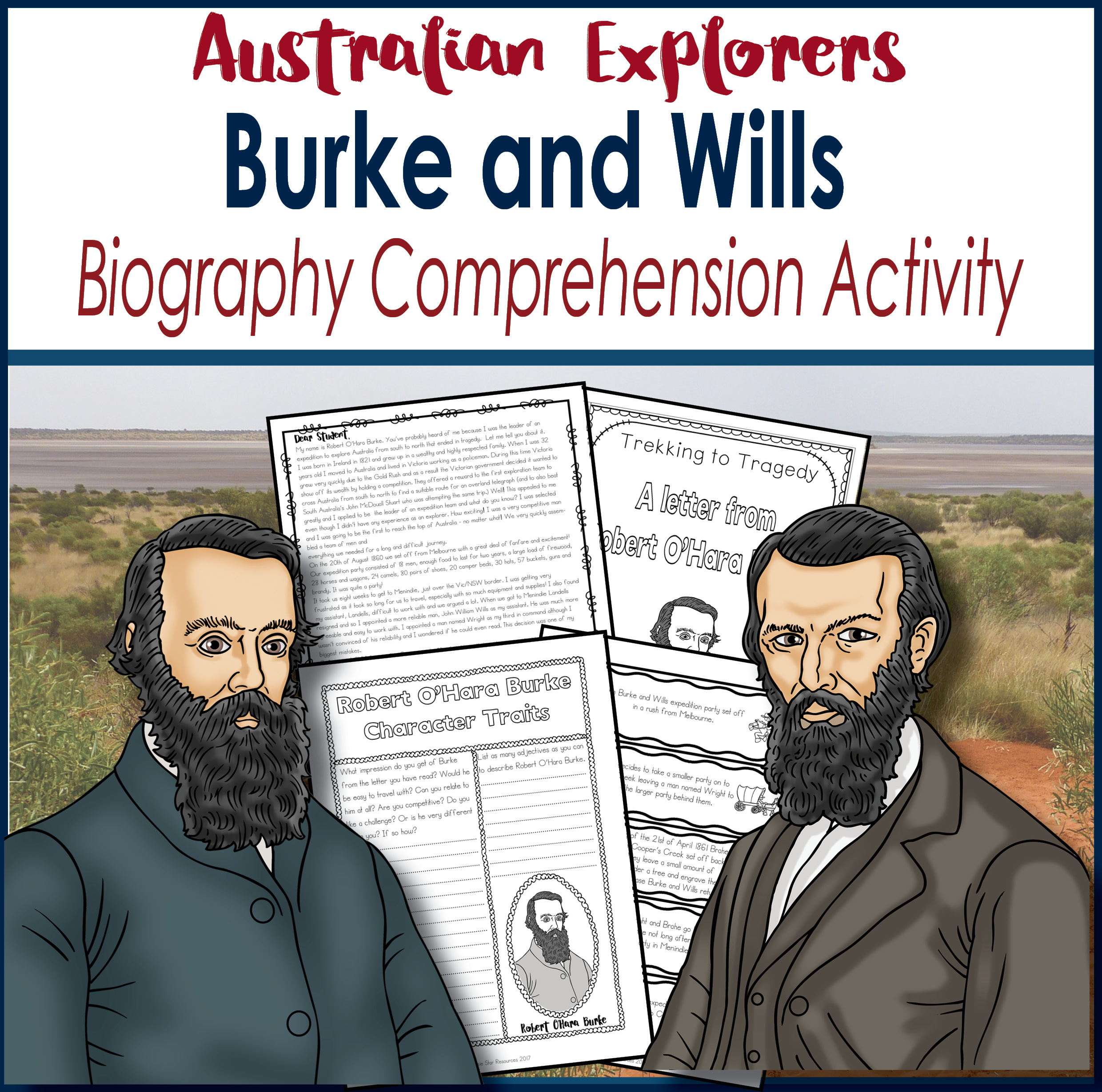 explorers Burke and Wills comprehension activity pack cover