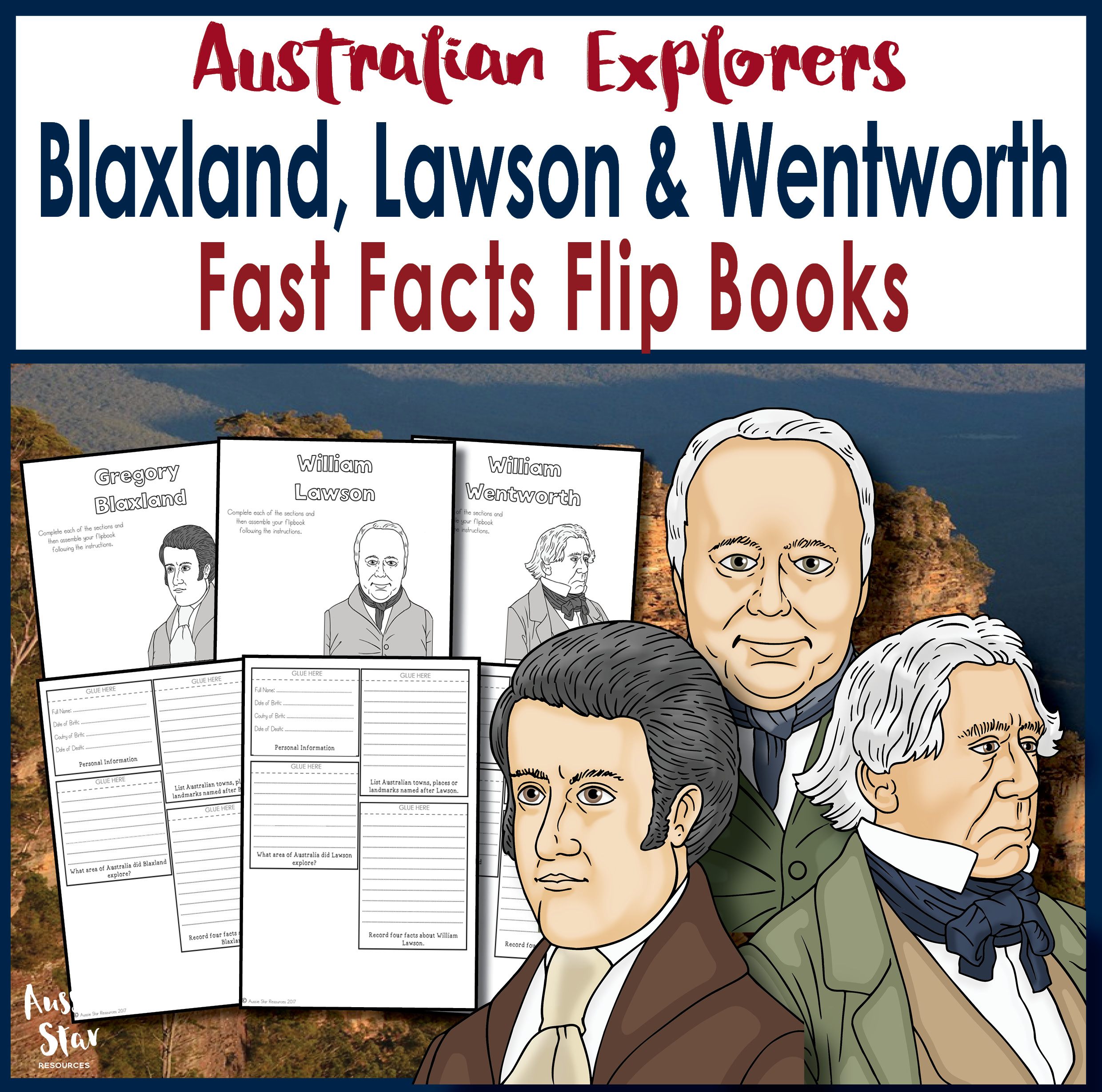 Blaxland, Lawson and Wentworth flip book cover