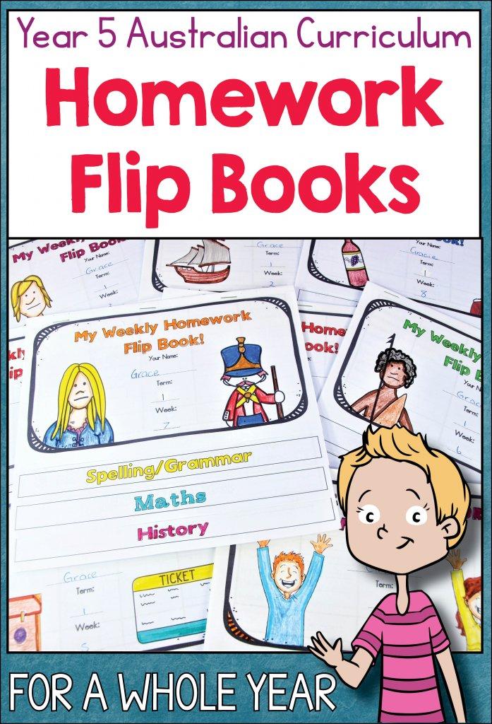 Year 5 Australian curriculum homework flip books