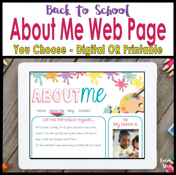 Back to school about me writing activity