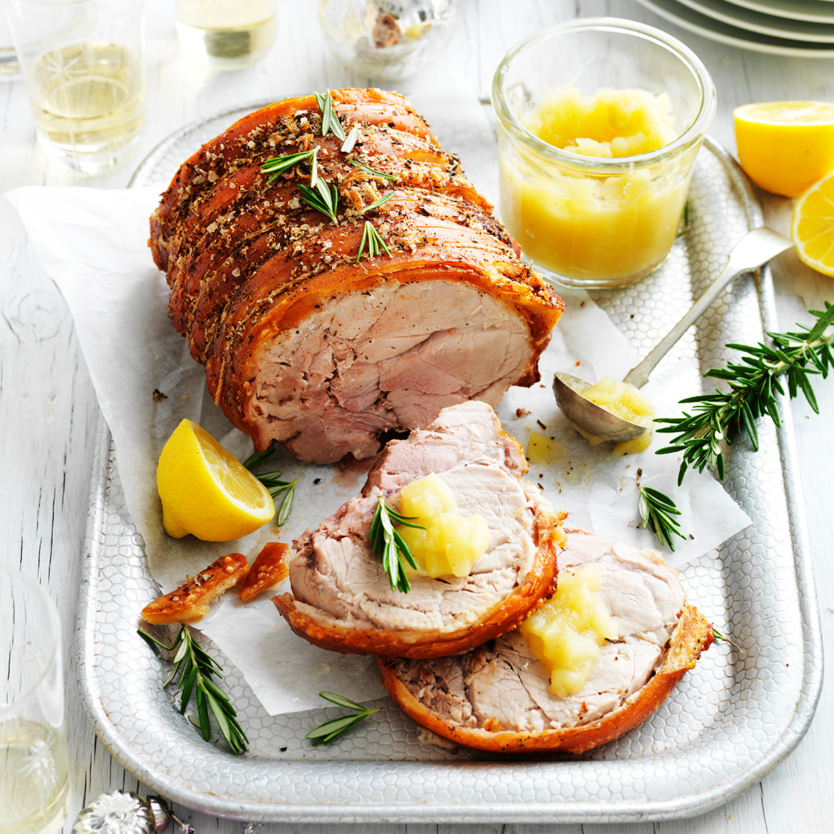 Rosemary & fennel slow-roasted pork shoulder with apple ...