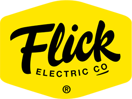 Flick logo in black background