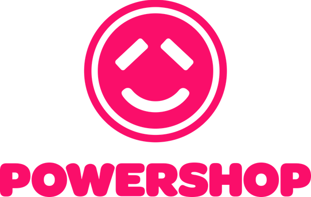 Powershop logo in black background