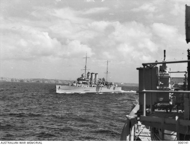 Off Sydney, NSW. 20 October 1939. Port quarter view of the heavy cruiser HMAS <EM>Australia II</EM> as she appeared after her 1938–39 refit.