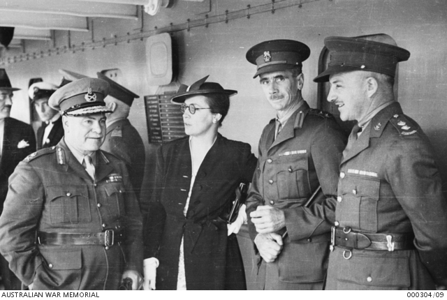 General Sir Thomas Blamey GBE KCB CMG DSO ED, talking with Mrs Vasey, Lieutenant Colonel (Lt Col) Vasey and Lt Col J Chapman on board the troop transport Strathallan during embarkation of the Advance Party 6th Division AIF for service overseas. 000304/09.