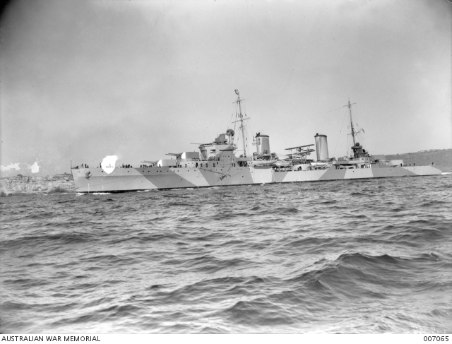 HMAS Sydney in her war paint in 1941 (AWM)