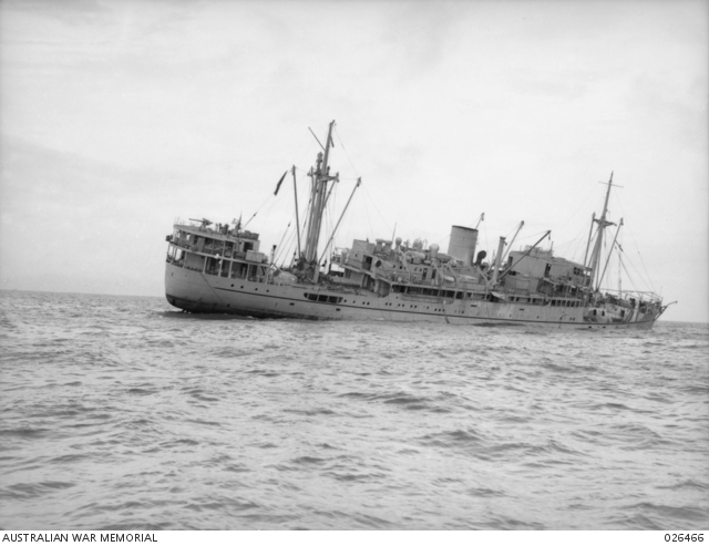MV Malaita pictured the day after she was torpedoed by Japanese submarine RO-33 off Port Moresby on 29 August 1942.