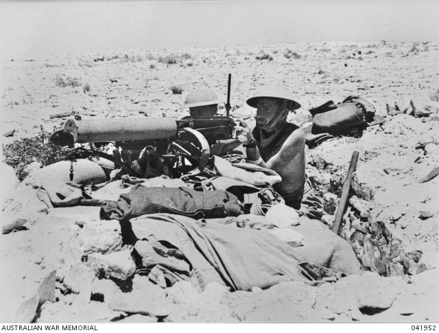 An Australian machine gun post near El Alamein in July 1942. The forward troops had to endure cramped conditions in slit trenches during the heat of the day, as movement above ground was impossible due to enemy fire