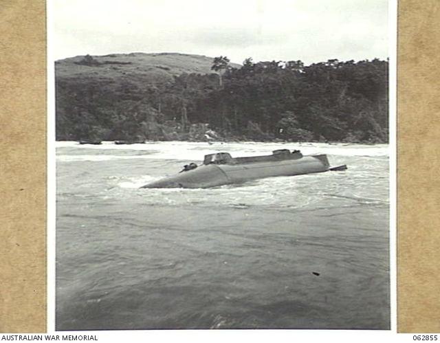 The wreck of Japanese submarine I-181 on Gneisenau Point in Kelanoa Harbour, after it was attacked in Vitiaz Strait by a US destroyer and a PT boat on 16 January 1944.