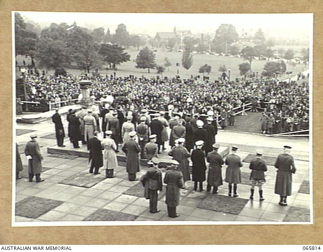 Playing of the recessional on ANZAC Day in Melbourne 1944
