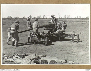 """STRATHFIELD, NSW. 1944-05-10. MEMBERS OF THE GUN CREW OF A 40MM TANK ATTACK GUN, HEADQUARTERS, SYDNEY, ANTI AIRCRAFT GROUP, CHANGING THE BARREL OF THEIR GUN, SERIAL NO. AD175, DURING AN """"ENGAGING .."""