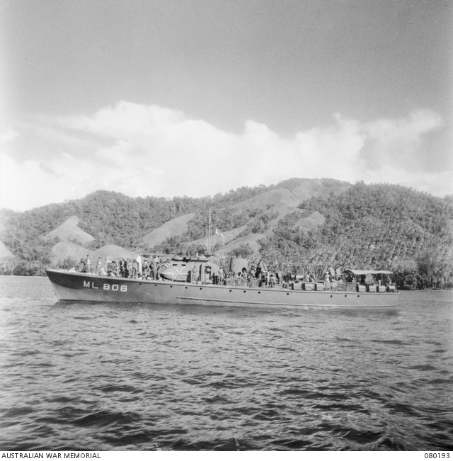 RAN motor launch ML808 at Hansa Bay, New Guinea, on 12 July 1944. These vessels were used for anti-submarine patrols and escort work, as well as strafing behind enemy lines.
