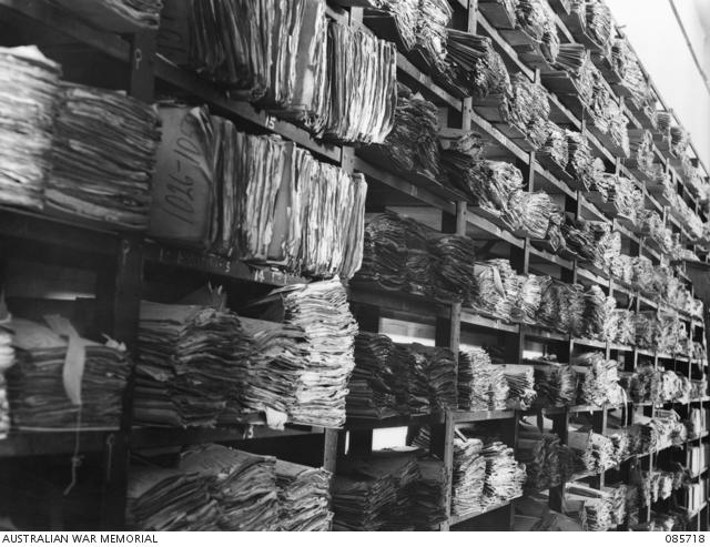 Official files in the Written Records Section of the Australian War Memorial, Canberra, January 1945