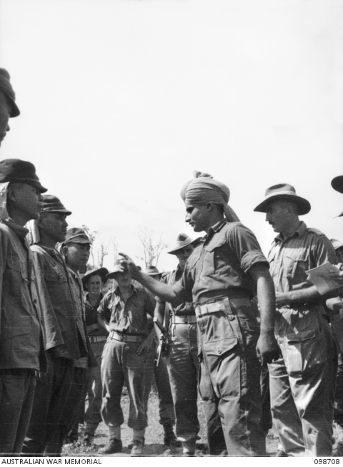 Jemadar Chint Singh identifying alleged war criminals at Mission Point, New Guinea, in November 1945