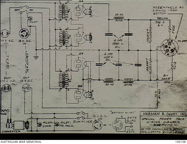 a schematic wiring diagram for the sound track of a 35mm sound camera
