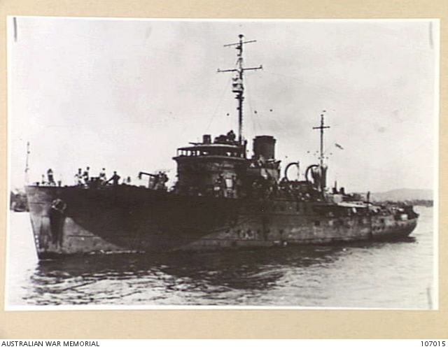 Corvette HMAS Pirie after a Japanese air attack, at Oro Bay on 11 April 1943.