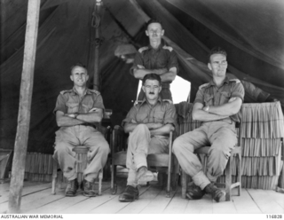 BALIKPAPAN, BORNEO. 1945-09-08. OFFICERS OF 2/7TH SURVEY BATTERY, ROYAL AUSTRALIAN ARTILLERY. IDENTIFIED PERSONNEL ARE:- VX17872  LIEUTENANT (LT) JOHN FREDERICK  STANSFIELD (1); MAJOR H. ..