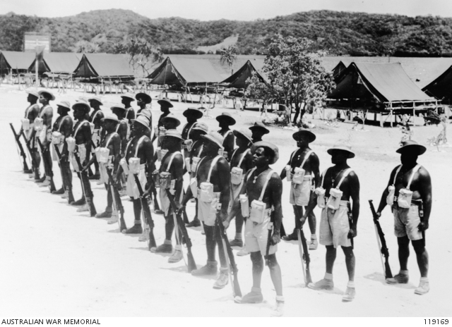 A squad of the Torres Strait Light Infantry Battalion training in their company lines, Thursday Island, 1945.