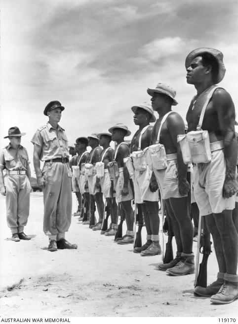 Inspection of Torres Strait Light Infantry Battalion, Thursday Island, 1945.