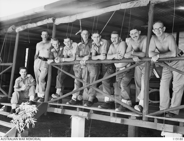 Officers of the Torres Strait Light Infantry Battalion, Thursday Island, 1945. Commanding Officer Major C.F.M. Godtschalk is third from right.