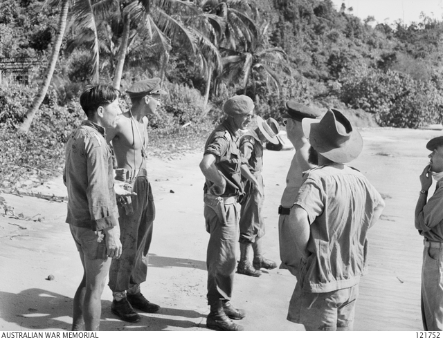An Australian inspection party ashore on Berhala Island, in Sandakan Harbour, 23 October 1945. At centre is Captain R. K. McLaren of SRD and