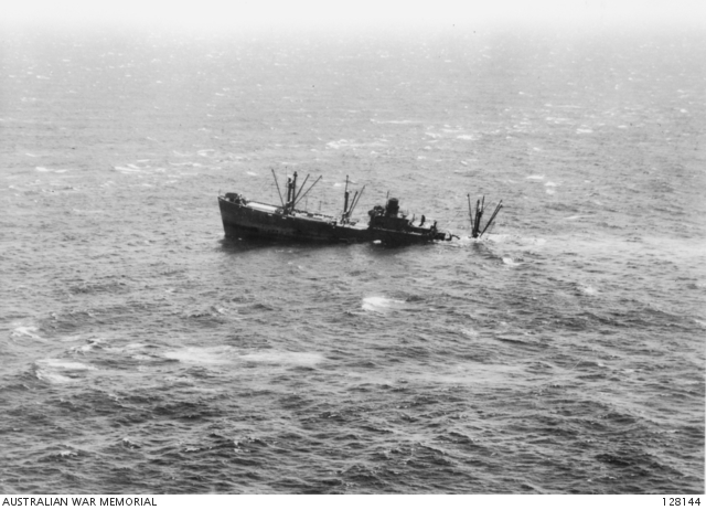 The US Liberty Ship Starr King sinking off Port Macquarie, New South Wales, after being torpedoed by Japanese submarine I-21 on 10 February 1943
