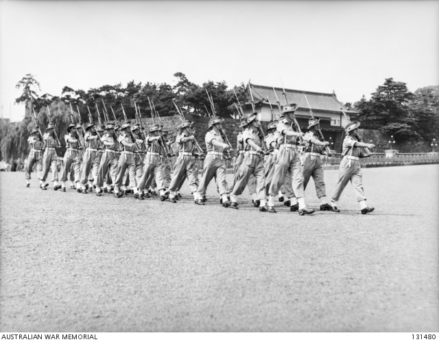 AUSTRALIAN GUARDS OF 65TH INFANTRY BATTALION MARCHING OFF TO RELIEVE