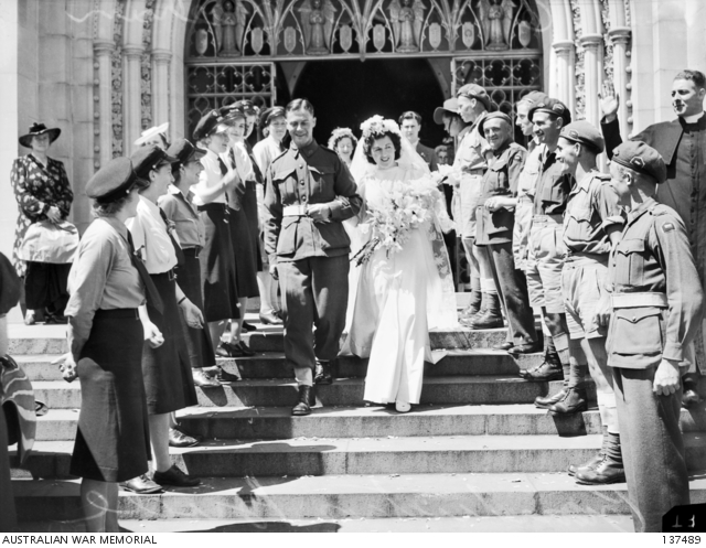 Signaller and Mrs K. O'Brien leave St Patrick's Cathedral after their wedding.. ACCNUM.