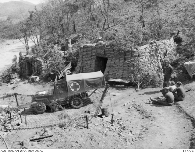 Korea 1952 04 11 The Heavily Sandbagged Regimental Aid Post For 3rd Battalion Royal