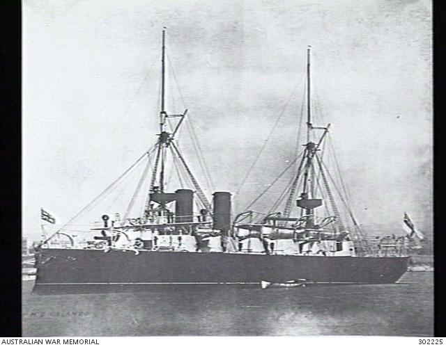 Port side view of the armoured cruiser HMS Orlando