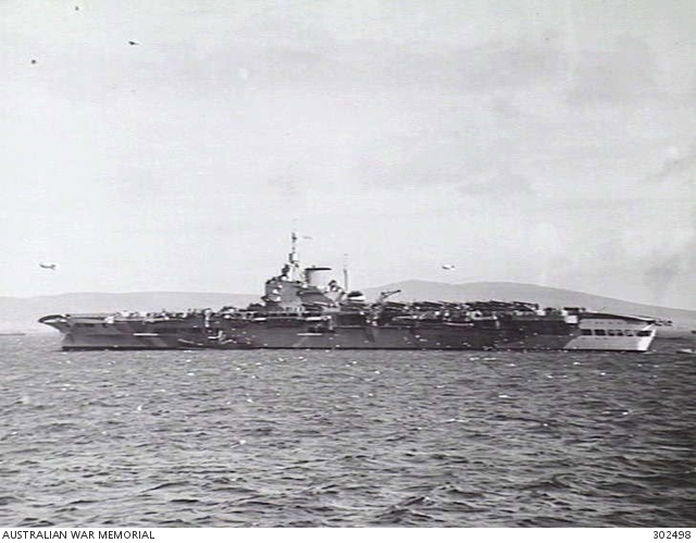 C 1942  PORT SIDE VIEW OF THE AIRCRAFT CARRIER HMS VICTORIOUS  NOTE