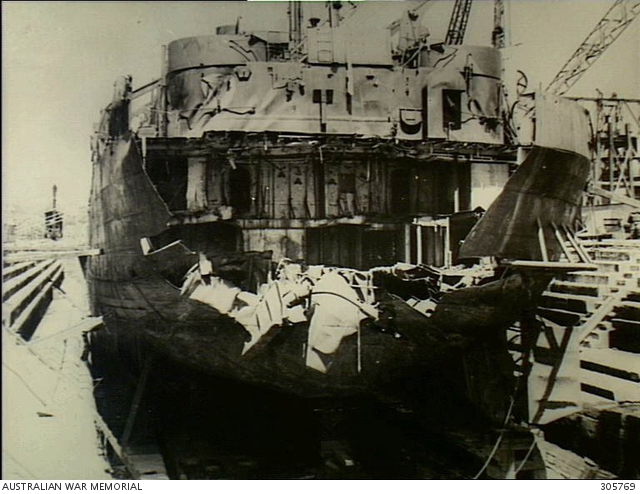 Damage to the stern of the American landing ship LST 471, after it was torpedoed by Japanese submarine I-174 off the New South Wales coast on 16 June 1943.