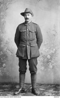 Studio portrait of 610 Private (Pte) Edwin Forte, 26th Battalion. A labourer for Mount Lomarch, Vic prior to enlistment, Pte Forte embarked with A Company from Brisbane on HMAT Ascanius on 24 May ..