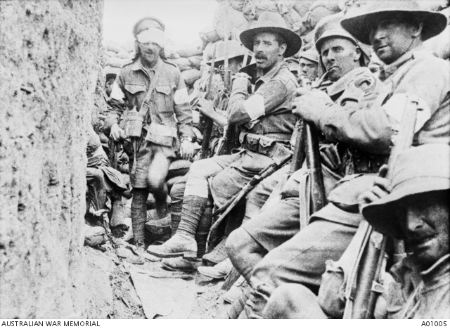 1st Battalion troops waiting near Jacob's trench for relief by 7th Battalion.